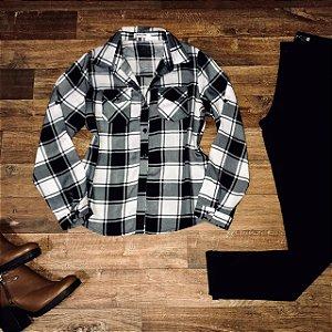 Camisa Xadrez Fashion White e Black