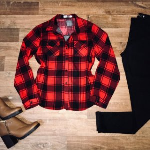 Camisa Xadrez Fashion Red e Black