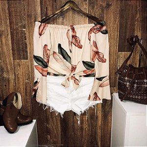 Blusa Ciganinha Amarrar Cropped Fashion Folhas Nude