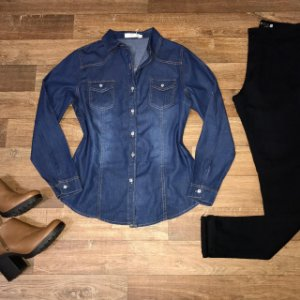 Camisa Jeans Fashion Azul Escuro