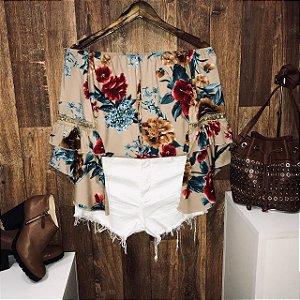 Blusa Ciganinha Duplo Babado Flower Nude