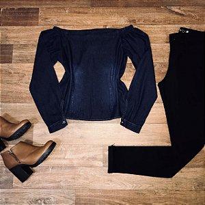 Blusa Ciganinha Manga Longa Jeans