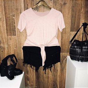 T-shirt Fashion Suede de Amarrar Rosê