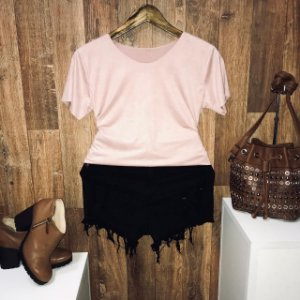 T-shirt Fashion Suede Rosê
