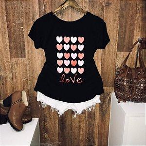 T-shirt Corações Glitter