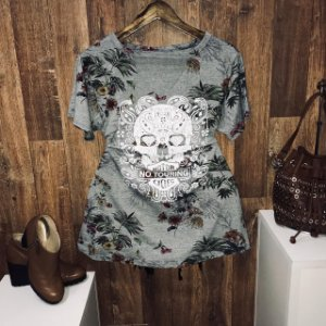 T-shirt Shocker Floral Cinza No Touring GG