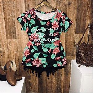 T-shirt  Floral Sempre é Dia De Agradecer Black