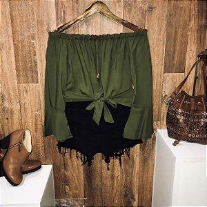 Blusa Ciganinha Amarrar Cropped Verde