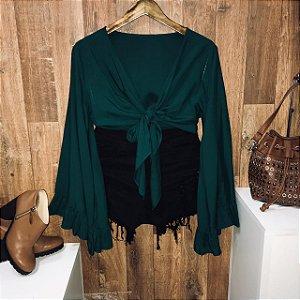 Blusa Cropped de Amarrar e Transpassada Verde Escuro