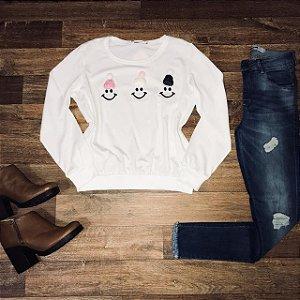 Blusa Moletinho Happy Face Branco