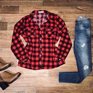 Camisa Xadrez New Vermelho e Preto
