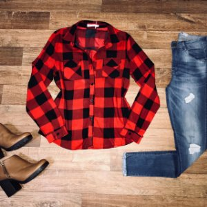 Camisa Xadrez New Red e Black