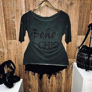 T-shirt Manga Curta Boho Chic Verde com Pedraria