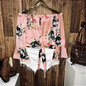 Blusa Ciganinha Amarrar Cropped Top Floral Rosê