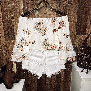 Blusa Ciganinha Triplo Babado Floral Branca