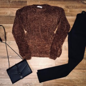 Blusa Suéter Tricot Marrom