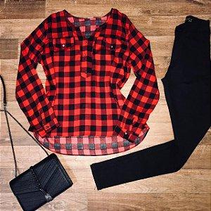 Camisa Botão Falso Fashion Xadrez Red Top