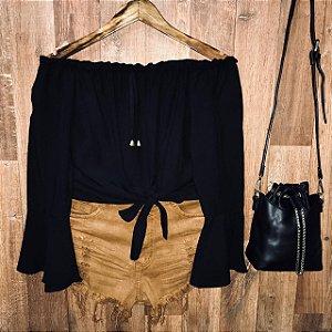 Blusa Ciganinha Amarrar Cropped Black