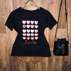 Camiseta Many Hearts Love com Glitter