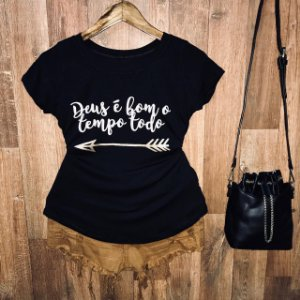 T-shirt Deus é Bom o Tempo Todo com Glitter