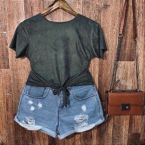 T-shirt Fashion Suede de Amarrar Verde