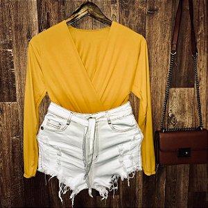 Short Jeans Fashion Rasgado Crystal com Cinto