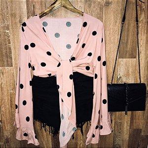 Blusa Cropped de Amarrar e Transpassada Poá Rosê