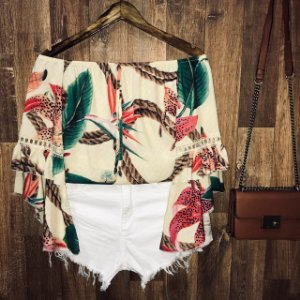 Blusa Ciganinha 3|4 Duplo Babado Candy Nude
