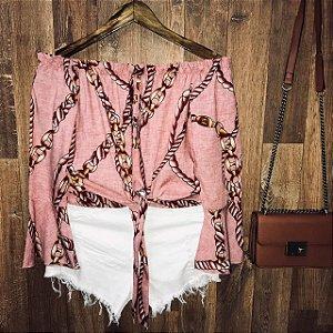 Blusa Ciganinha Cropped de Amarrar Candy Rosa
