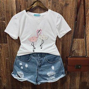 T-shirt manga curta Flamingo com Perolas Branca