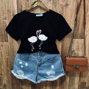 T-shirt manga curta Flamingo com Perolas Black