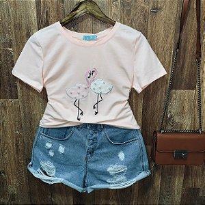 T-shirt manga curta Flamingo com Perolas Rosê