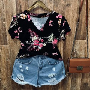 T-shirt Shocker Floral Every Morning Black