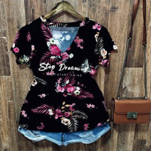 T-shirt Shocker Floral Stop Dreaming Black