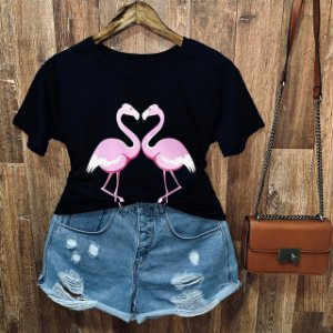 Camiseta Heart Flamingos