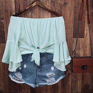Blusa Ciganinha Cropped de Amarrar Verde Água