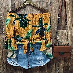 Blusa Ciganinha Cropped de Amarrar Coqueiros Amarelo