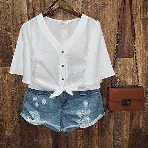 Blusa Cropped de Amarrar com Botões Branca