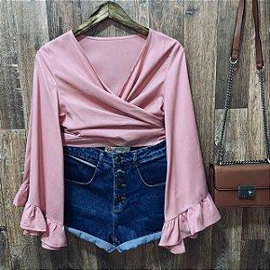 Blusa Cropped de Amarrar e Transpassada Rosê