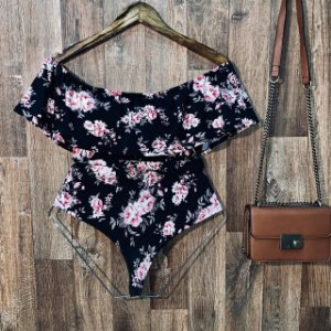 Body Feminino Babado Floral Black