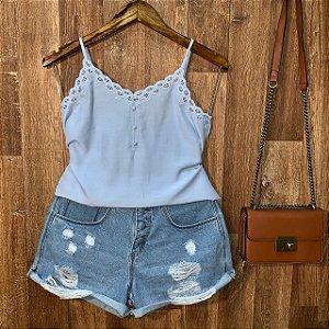 Blusa Alcinha Delicada com Renda Azul Claro