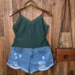 Blusa Alcinha Delicada com Renda Verde
