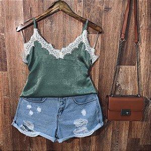 Blusa Alcinha Rendinha Verde