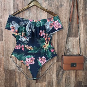 Body Feminino Babado Tropical Flower Blue
