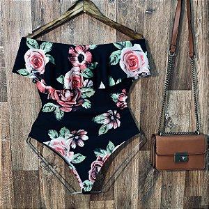 Body Feminino Babado Tropical Flower Black