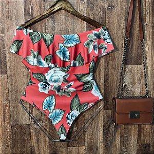 Body Feminino Babado Tropical Flower Laranja