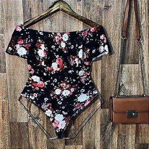 Body Feminino Babado Tropical Florzinhas Black