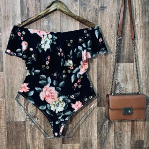 Body Feminino Babado Tropical Floral Black
