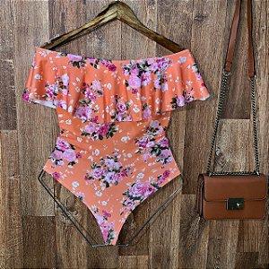 Body Feminino Babado Tropical Floral Salmão