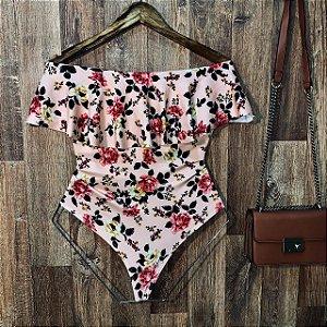 Body Feminino Babado Tropical Floral Rosê